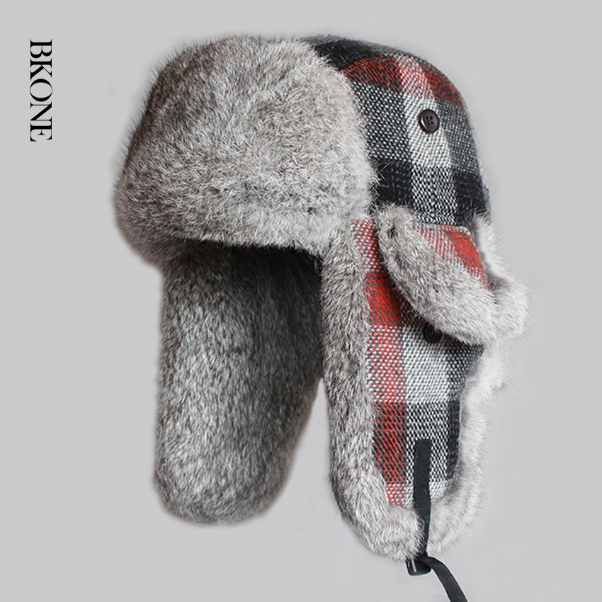 Winter Men Bomber Hats Real Rabbit Fur Trooper Hat Plaid Thicken Wool Earflap Russian Ushanka Winter Warm Snow Caps