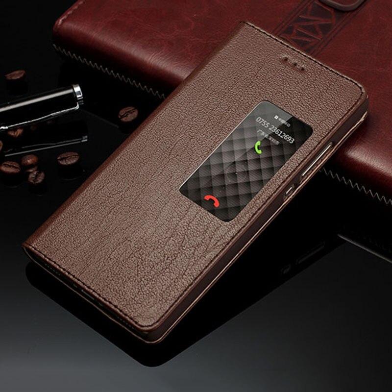 imágenes para Lujo Genuino Funda de Cuero Latencia Inteligente Ventana de Vista Cubierta Del Caso Del Tirón Para Huawei Ascend P8 Teléfono Fundas Coque
