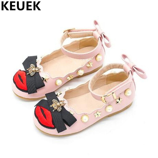 2962f610248d90 New Spring Flat with Casual Children Shoes Toddler Baby Girls Leather Shoes  Bowknot Non-slip