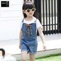 2016 calças de Brim Novas Meninas Macacão roupas de Verão para Crianças Calções Cinta Cowboy Coreano Denim Macacão Crianças Idade3-10 Geral Sólida