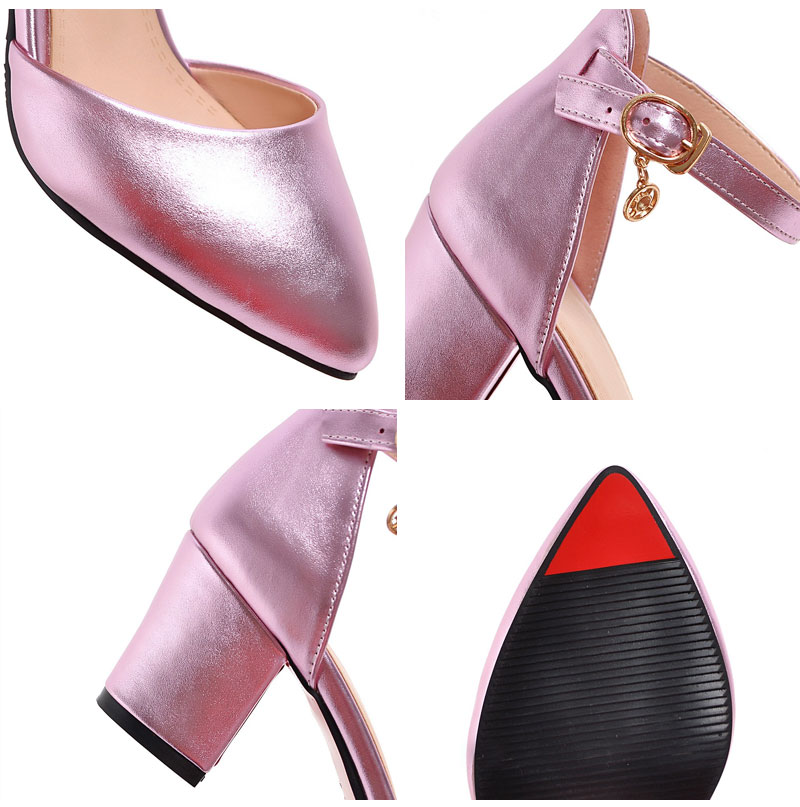 Meotina Shoes Woman 2017 New High Heels Spring Ladies Pumps Summer Two Piece Thick Heels Footwear Ankle Strap Shoes Sliver 34-43 14