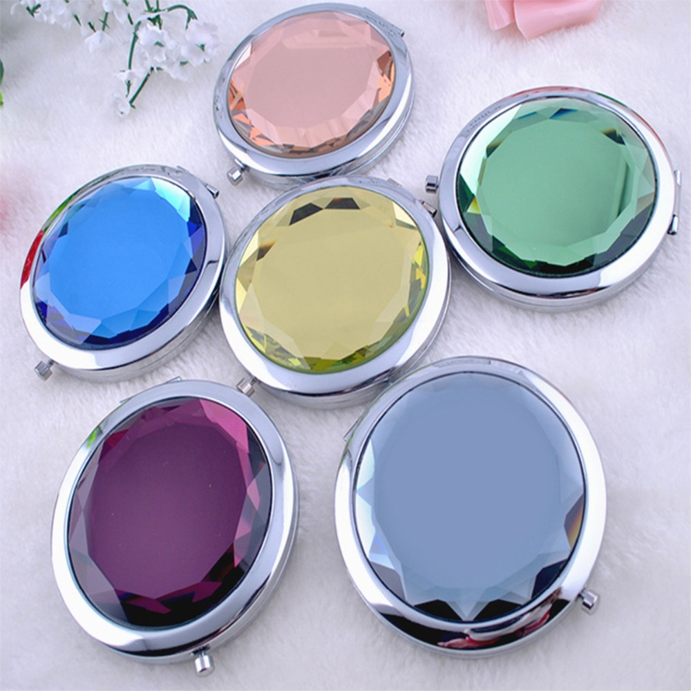 Freeshipping Portable pocket mirror cd double faced makeup folding metal fashion gift