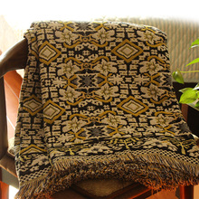 Drop Shipping Cotton Sofa Towel Cover Knitted Blanket With Tel Home Decorative Indian Thread Blankets Plaids