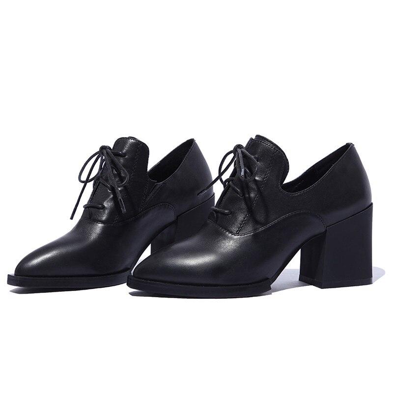 Asumer Cuero Moda Mujeres La Mujer Clásico Negro Genuino Plaza Punta De Tacón Bombas Las Zapatos Oficina Señoras vqnAvr0xw