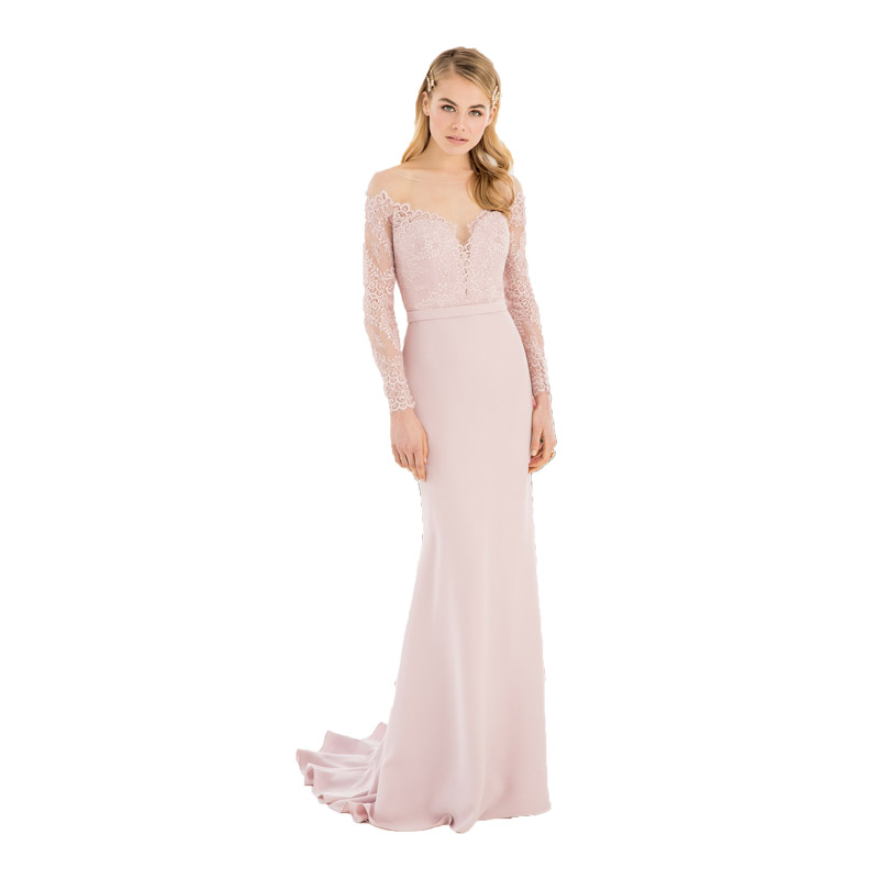 Blush Pink Mermaid   Bridesmaid     Dresses   Long Sleeves Party   Dress   Gowns Sheer Sexy Formal Wedding Party Elegant Women Guest   Dress