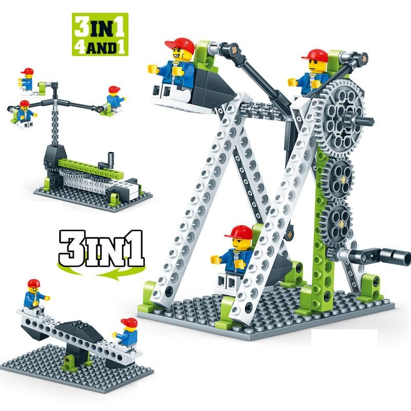 Kids Toys Fan Building Blocks Gears Building Construction Set Assembling Toys