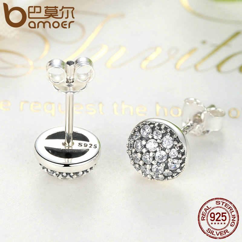 Bamoer delicado 100% 925 prata esterlina gotas deslumbrantes, claro cz pequenos brincos do parafuso prisioneiro feminino jóias de casamento brincos pas488