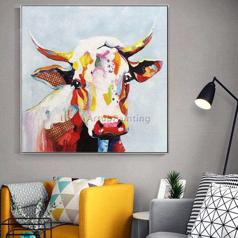 Leinwand malerei acryl kuh malerei wand kunst bilder f r for Wand kunst wohnzimmer