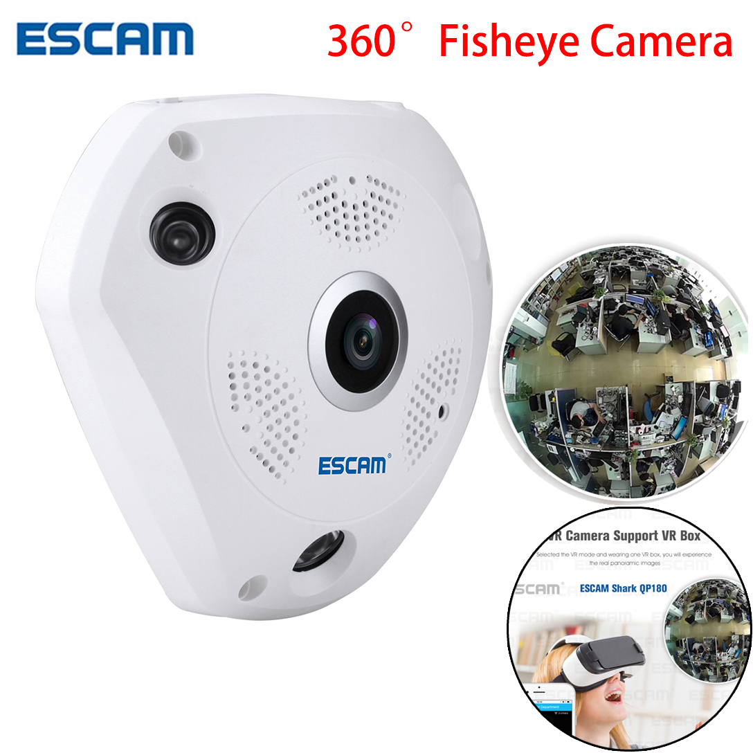 imágenes para ESCAM Tiburón QP180 VR 960 P IP Cámara de Red WiFi Ojo de Pez 1.44mm 360 Wi-Fi Cámaras de Vigilancia CCTV Cámara soporte VR CAJA