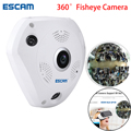 ESCAM Tubarão QP180 960 P VR IP Wi-fi Câmera de Rede Fisheye 1.44mm 360 Wi-Fi Câmeras de Vigilância CCTV Cam suporte CAIXA de VR