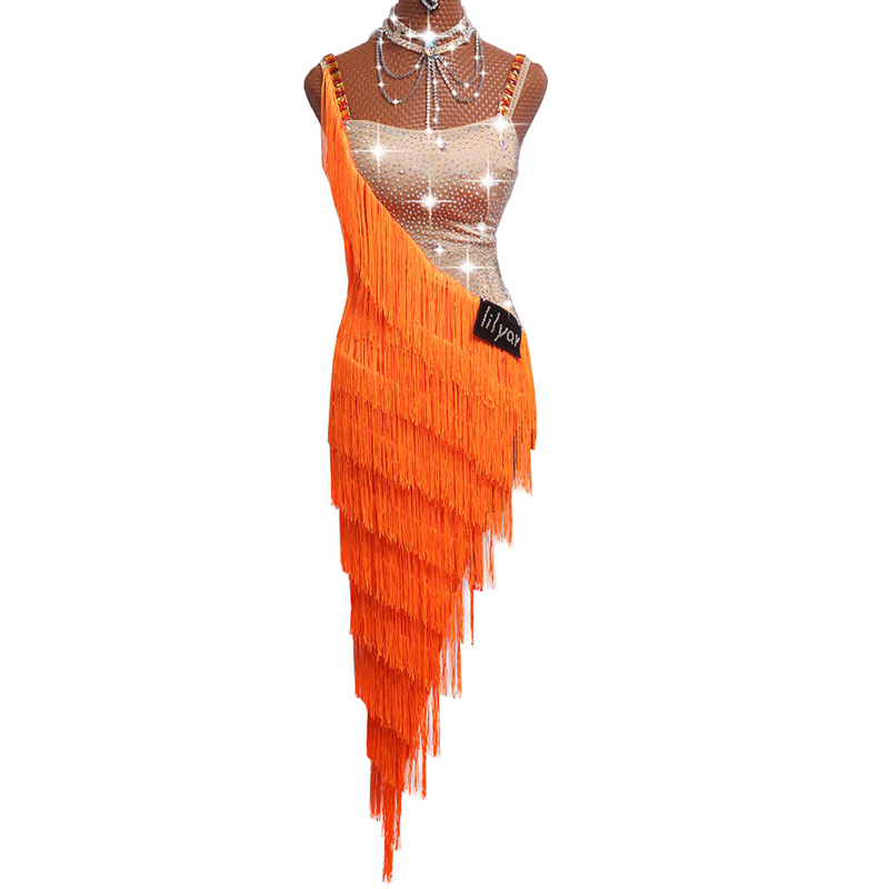 Sexy Latin Dance Dresses For Ladies Orange Cocktail Braces Dresses Young Female Women Ballroom Tutu Tassel dresses DM1035