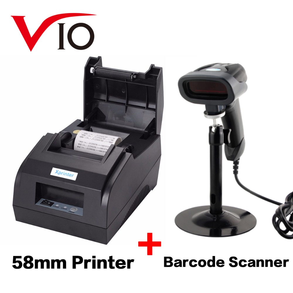 Vio 58mm Thermal Receipt Printer USB Port Black and 1D Wired Barcode Reader Scanner with Stand