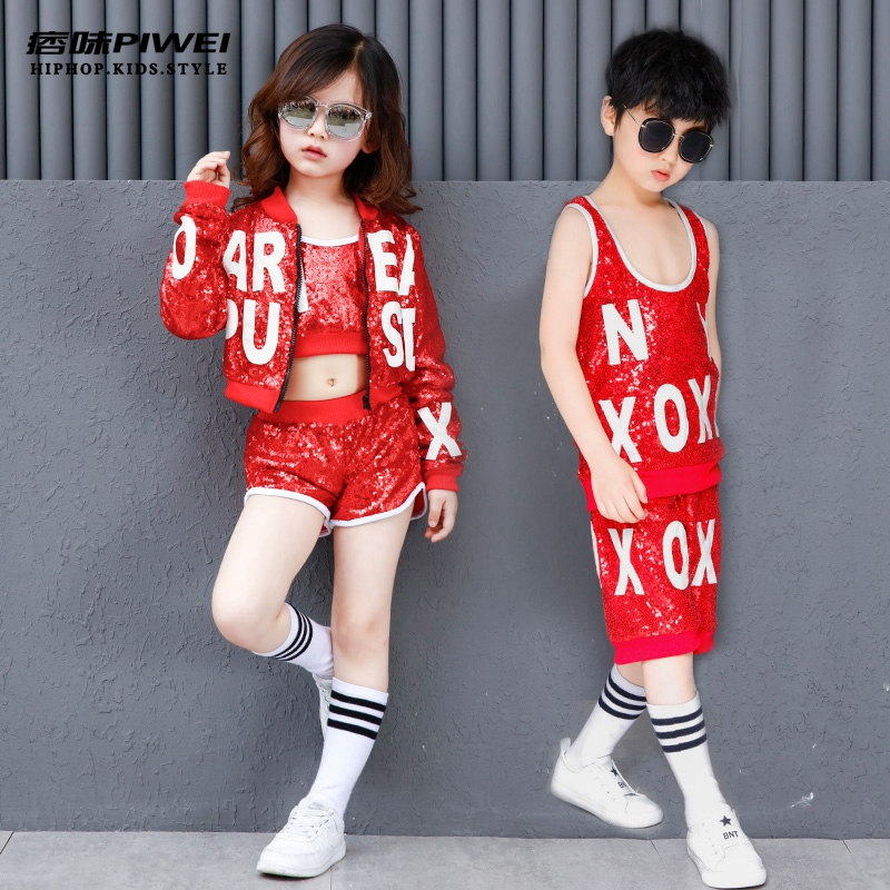 Boys And Girls Hip Hop Costumes Unisex Red Sequin Street Dance Clothing Tops, Shorts And Jacket Children Jazz Dance Outfit