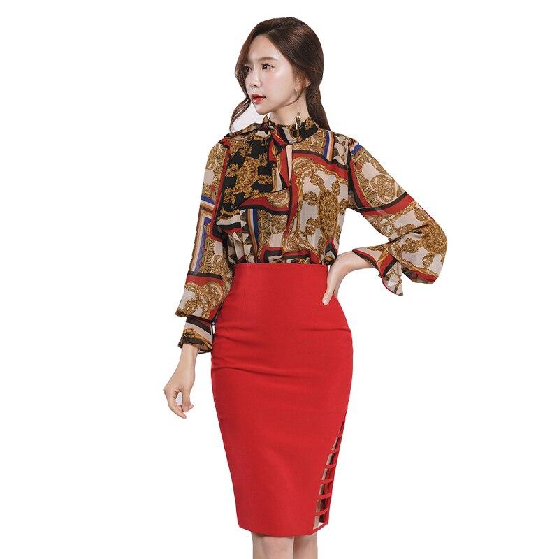 HAMALIEL Korean Fashion Women Skirt Suits Autumn Chiffon Printed Flower Bow Blouse Tops +Sheath Red Hollow Out Pencil Skirt Set