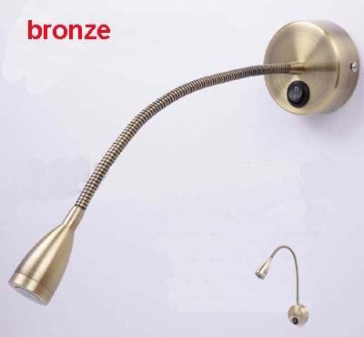 3W 110V/220V Bronze Finished Retro Led Flexible Pipe Wall Lights3W 110V/220V Bronze Finished Retro Led Flexible Pipe Wall Lights