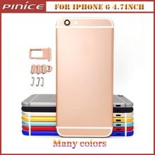 De alta calidad para iphone 6 4.7 inch colorido de metal de nuevo cuadro de la carcasa cubierta cubierta de repuesto para iphone 6 chasis con botones