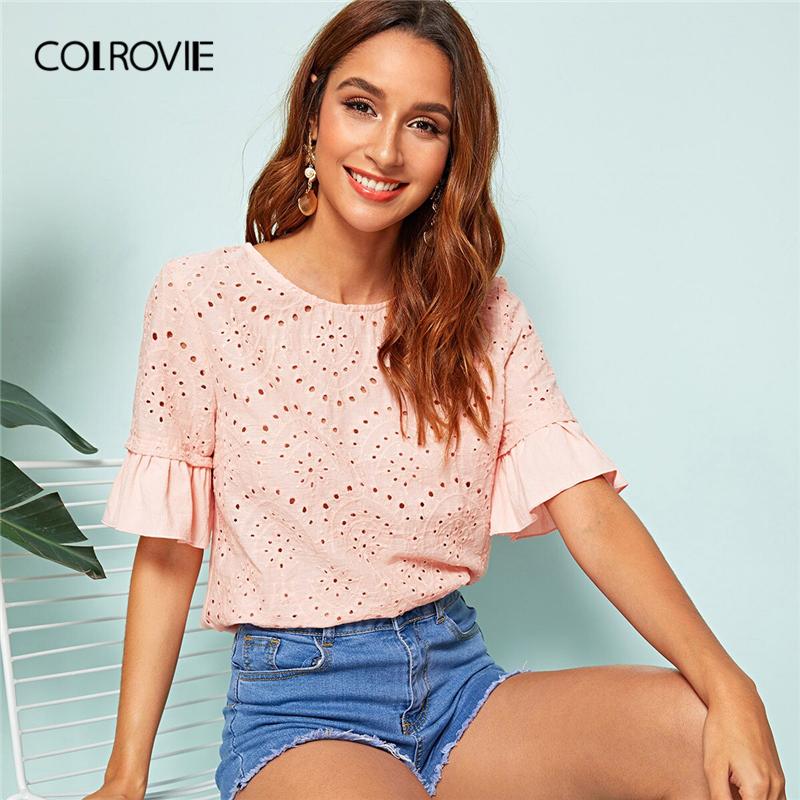 COLROVIE Pink Eyelet Embroidery Bell Sleeve Ruffle Elegant Schiffy Top Women   Blouse     Shirt   2019 Summer Korean Sweet Girly   Blouses
