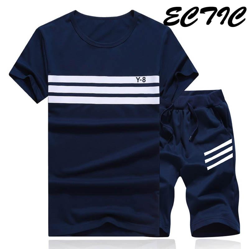 Fashion 2PCS  Men Summer TrackSuit T Shirt Sport Suit Sets Pants Tennis Wear
