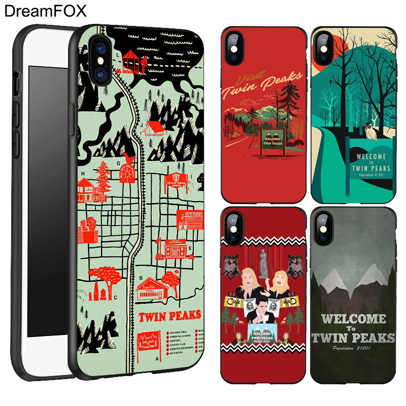 DREAMFOX K249 Twin Peaks Black Soft TPU Silicone Case Cover For Apple iPhone X 8 7 6 6S Plus 5 5S 5G SE