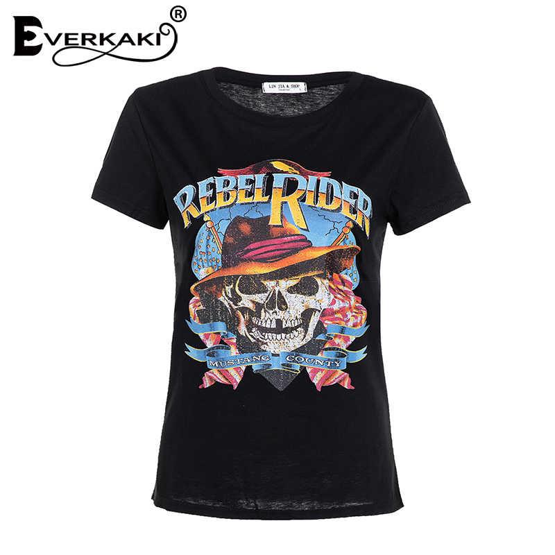 Everkaki Rebel Rider Stampa T-Shirt Delle Donne di Boho Top In Cotone Nero Dell'annata di Estate Della Boemia T-Shirt Magliette e camicette Femminile 2019 Primavera Nuovo