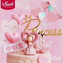 Roze Boog Hart Prinses Decoratie Zilveren Kroon Gelukkige Verjaardag Cake Topper Voor Kinderen Dag Party Bruiloft Benodigdheden Mooie Gift