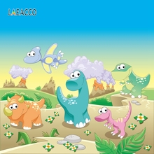 Laeacco Dinosaur Baby Birthday Party Jurassic Jungle Cartoon Poster Portrait Photo Background Photography Backdrops Studio