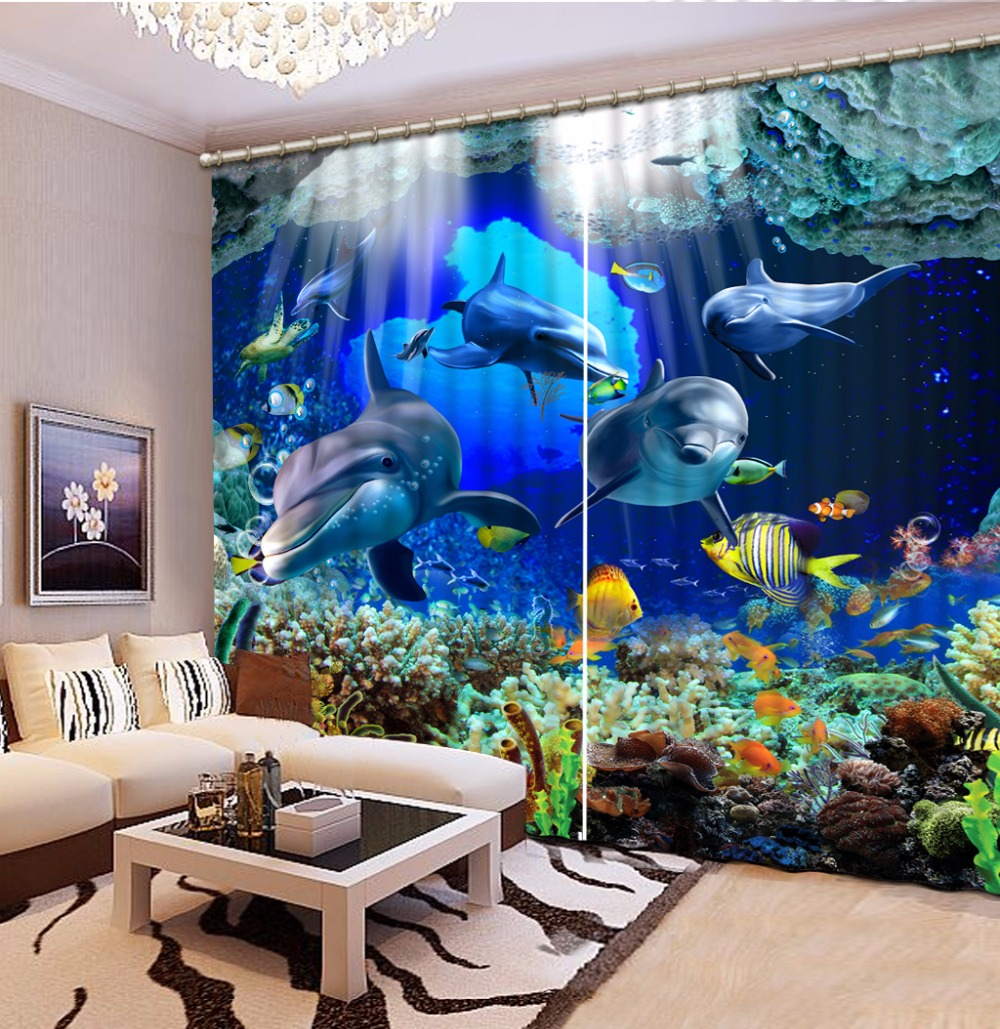 The underwater world Blackout Curtains Printing Curtains For Bedroom Window Kids Curtain Hotel Curtains Draps