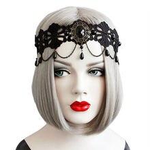Повязка на голову Женская эластичная обруч с черными цветами