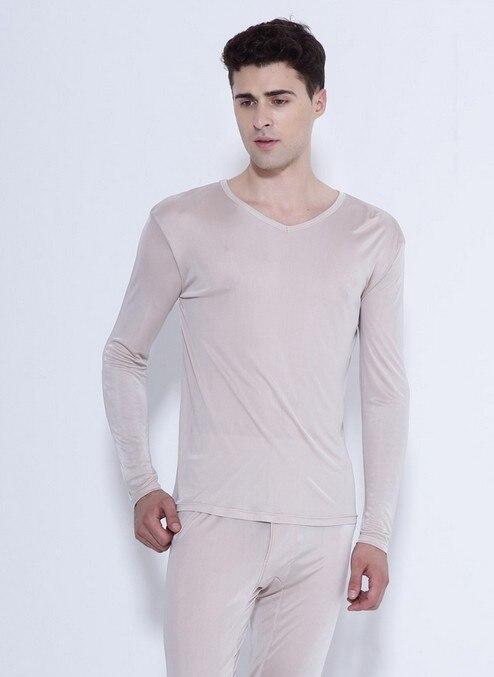 100% hochwertigen reinen silk unterwäsche männer anzug dünne V kragen 3 - 3