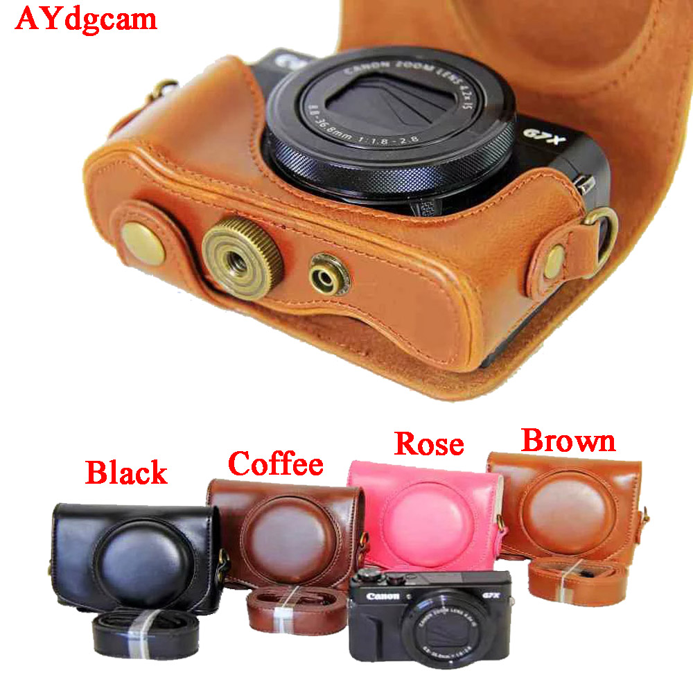 AYdgcam Video For Canon Powershot G7XII Mark 2 G7X II G7X2 Pu Leather Camera Case Set