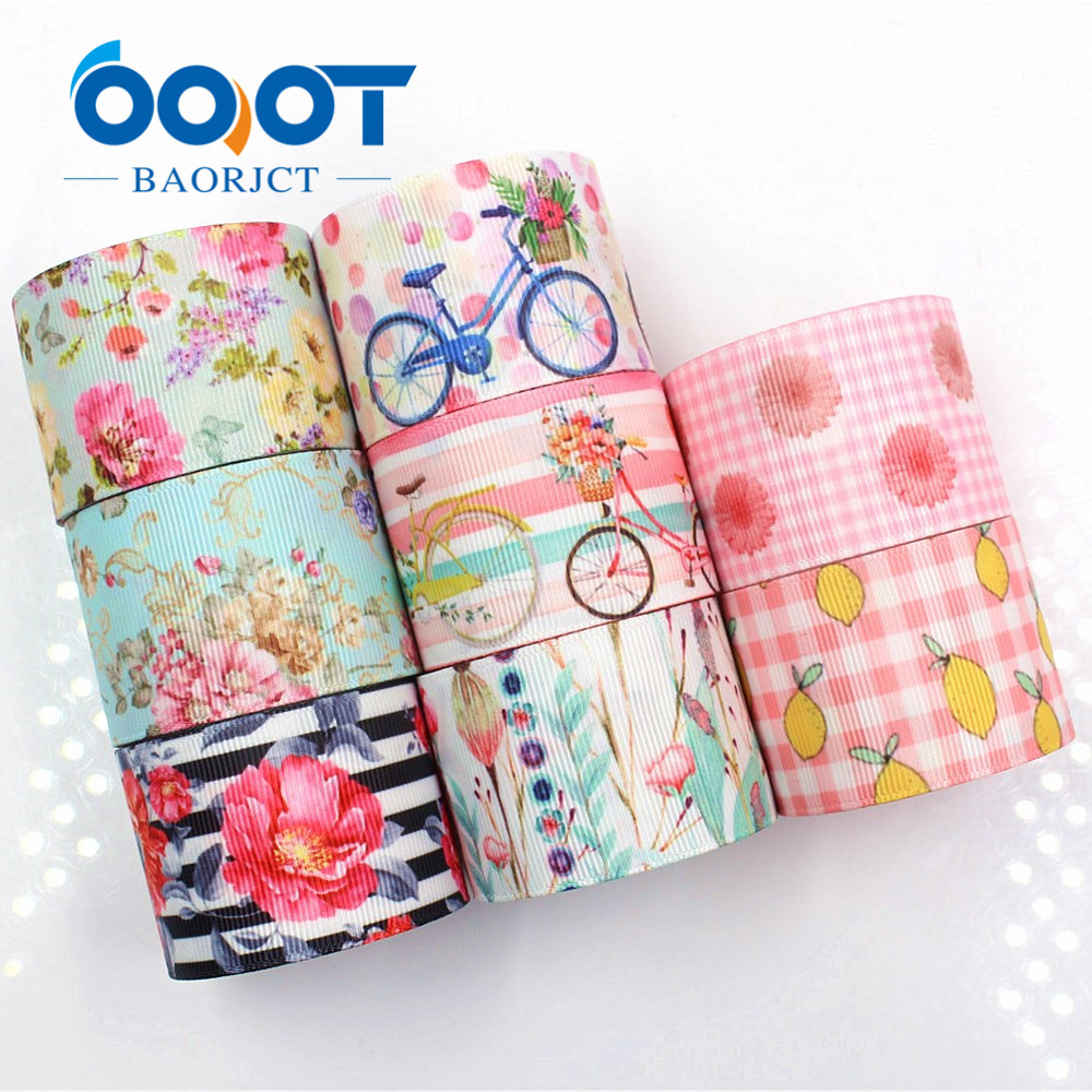 OOOT BAORJCT G-18927-1240,38 Mm 10 Yards Flower Ribbons Thermal Transfer Printed Grosgrain,Holiday Decoration DIY Materials