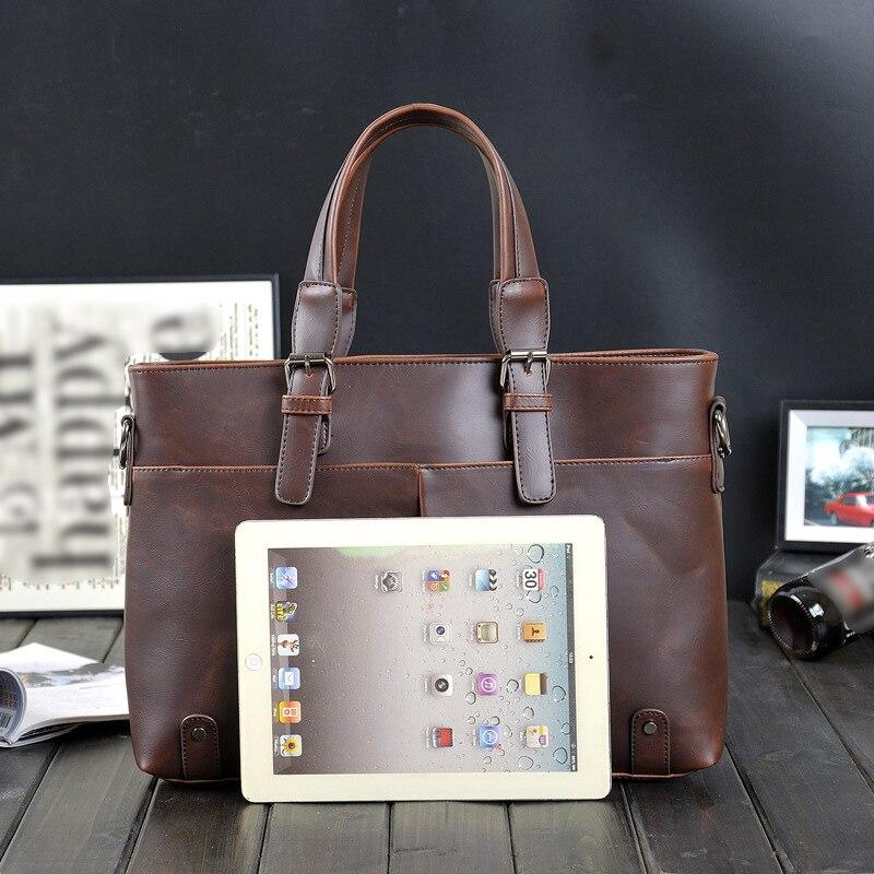 G-FAVOR Laptop Handbag Men Crazy Horse Leather Business Briefcase Male Retro Casual Soft Messenger Bag Briefcases