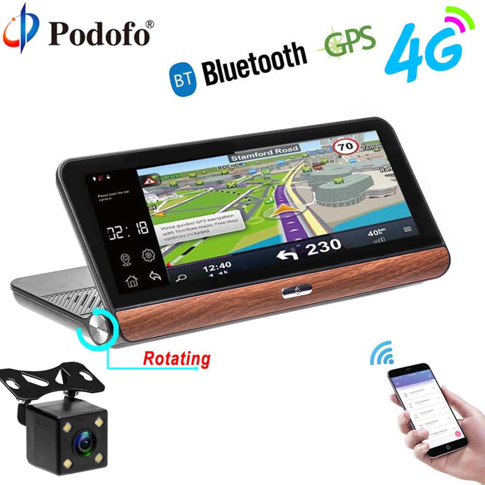 Podofo Car DVR GPS Navigation Dashcam 7.84 Android Dash Cam Bluetooth WIFI Touch Automobile DVRs Rearview Camera Video Recorder