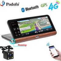 Podofo Car DVR GPS Navigation Dashcam 7 84 Android Dash Cam Bluetooth WIFI Touch Automobile DVRs