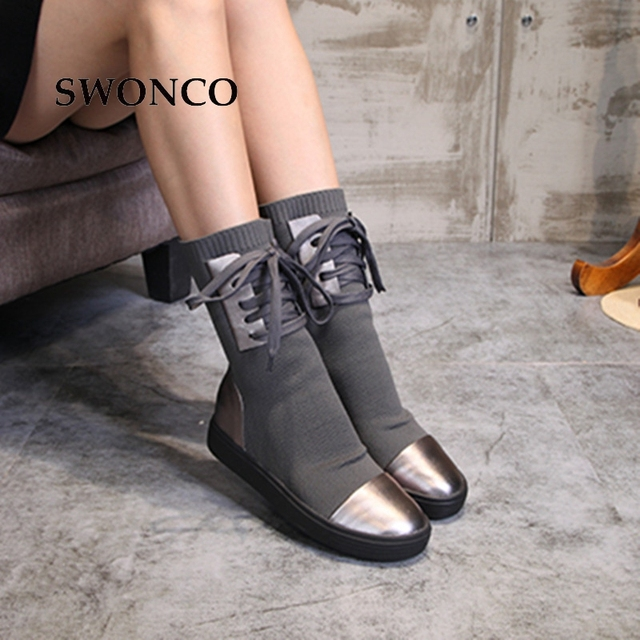 SWONCO Women's Boots 2018 Autumn Winter Genuine Leather Knitting Wool Ladies Shoes Women Boots Winter Mid Calf Boot Woman Shoes 1