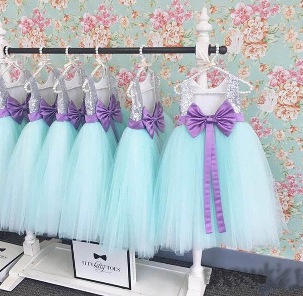 beautiful mint green princess baby girls birthday dress floor length baby dress with silver sequined flower rocks purple bow mint green casual sleeveless hooded top