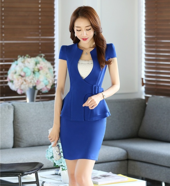 Female Skirt Suits for Women Business Suits Work Wear Sets Ladies Blazer and Jackets Blue Summer Office Uniform Styles