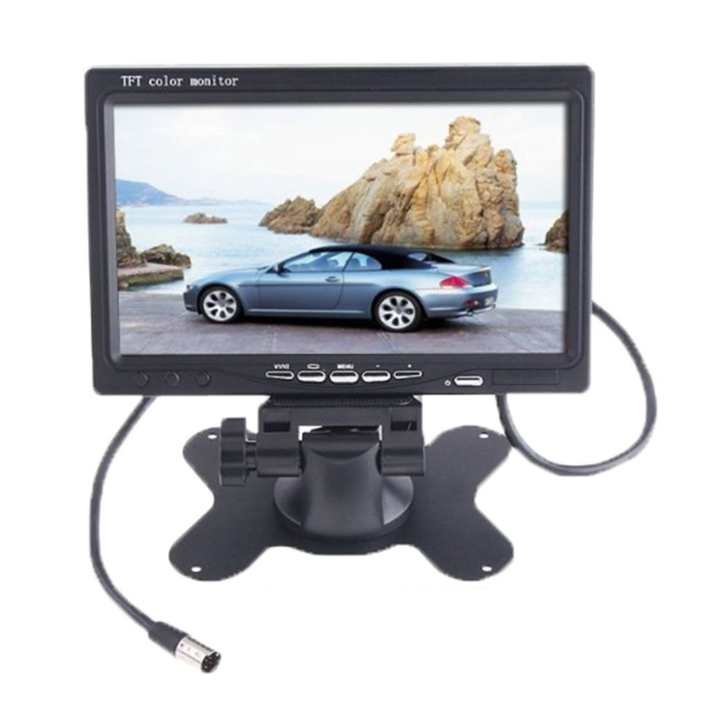 7 TFT LCD Color 2 Video Input Car Rear View Car Monitor DVD VCR Monitor With Remote and Stand& Support Rotating