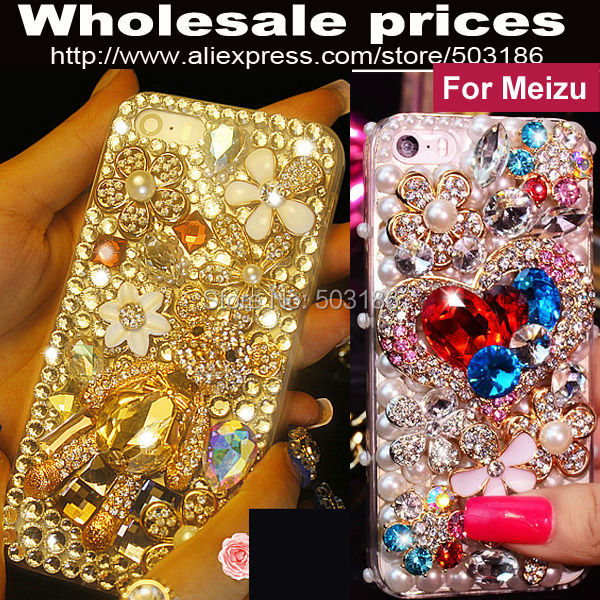 imágenes para Hermoso de Lujo Oso Rhinestone Del Diamante Caja De Cristal Para MeiZu MX4 MX5 MX6 Pro 5 6 M1 M2 M3 M5 M3 M5s mini Note Max U10 U20