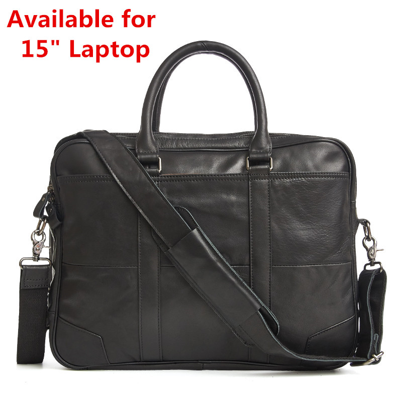 Luxury Vintage Big Genuine Leather Bag Fashion Men Leather Handbags 15 Inch Laptop Bag Mens Casual Business Briefcase
