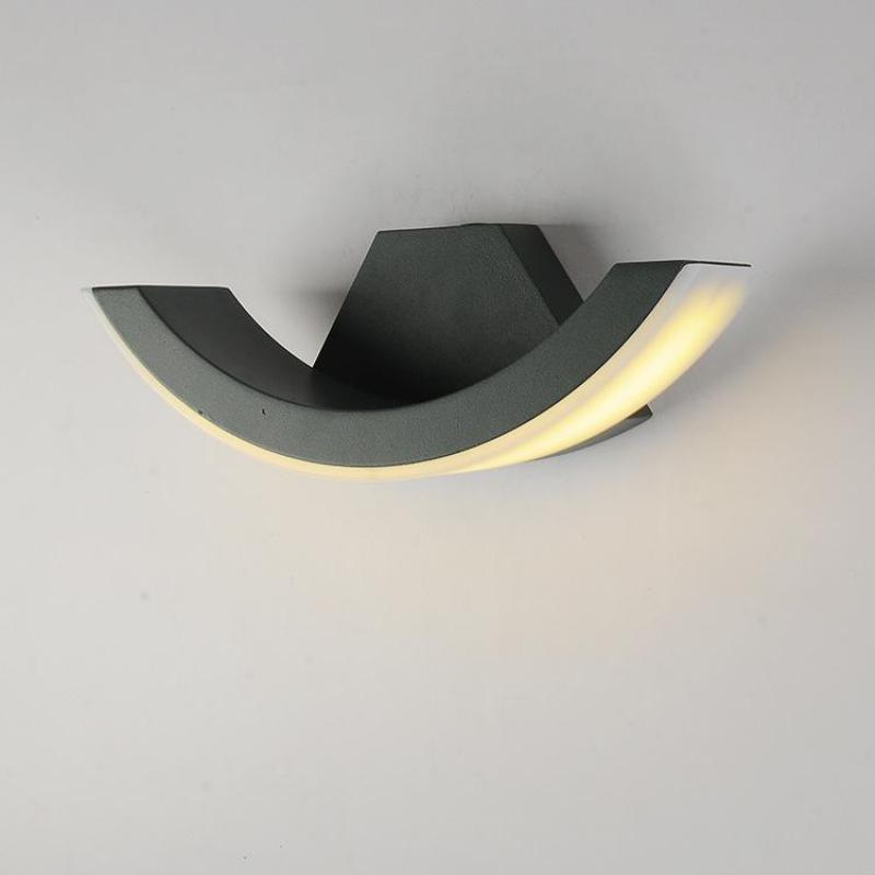 Modern Simple Waterproof Alloy Led Outdoor Wall Lamp For Garden Balcony Entrance Deco Frosted Black/grey 8w 1454 modern 8w 720lm 5000k 8 led up