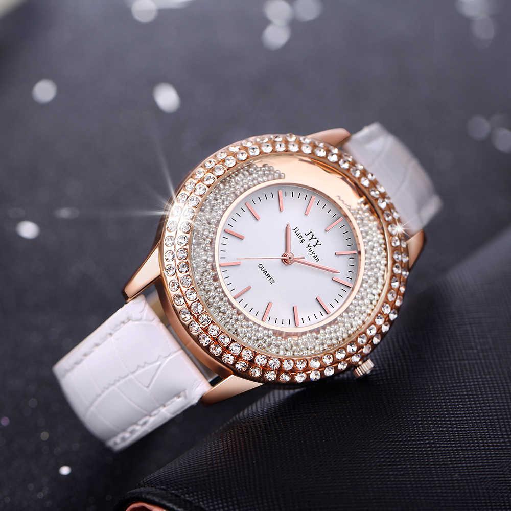 Dropship New Thời Trang Phụ Nữ Da Pha Lê Kim Cương Rhinestone Đồng Hồ Phụ Nữ Đẹp Ăn Mặc Quartz Đồng Hồ Đeo Tay Giờ Reloj Mujer