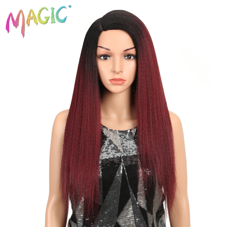 MAGIC Hair Synthetic Wigs For Black Women 28 Inch 70CM Heat Resistant Fiber Hair Long Ombre Brown Yaki Straight Lace Front Wig(China)