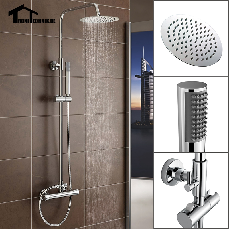 UK Shipping New Round Thermostatic Water Shower Faucet Set  Chrome Bath Tub Shower Mixers with Handshower 8