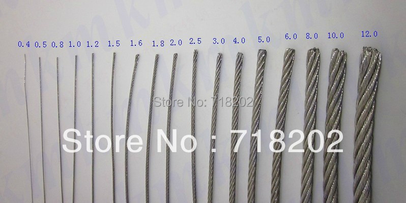 buy 100m per lot stainless steel 304 wire rope 1 7 0 4 mm diameter no nylon pvc. Black Bedroom Furniture Sets. Home Design Ideas