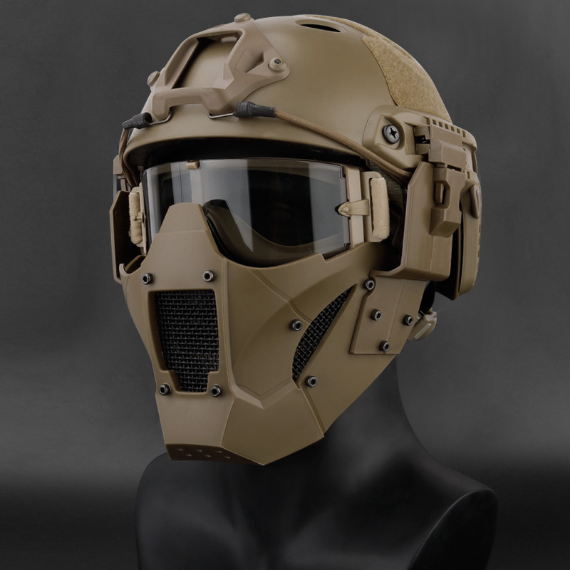 Airsoft Paintball Hunting Mask Tactical Combat Half Face Mask Military War Game Protective Face Mask Black tan green