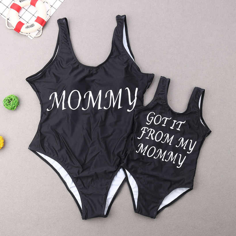 Keluarga Yang Sesuai dengan Baju Renang Ibu Ayah Anak Baju Renang Huruf Keluarga Terlihat Putri Putri Baju Mommy dan Saya Pakaian