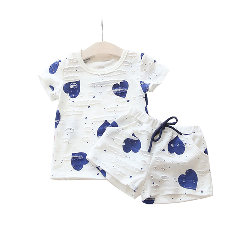 Casual Kids Shorts Children Tracksuits T-Shirt Sport-Suits Girls Heart Boys Summer