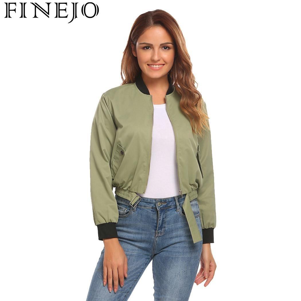 FINEJO Autumn   Basic     Jacket   Women 2017 Fashion Casual Coat Baseball Collar Long Sleeve Solid Lightweight Zipper Bomber   Jackets
