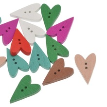 50Pcs Mixed Love Heart Wooden Sewing Buttons 2 Holes Crafts Scrapbook Making 24x15mm